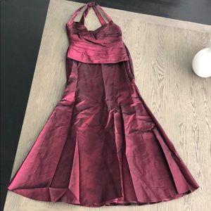 David's bridal iridescent taffeta Cabernet  dress